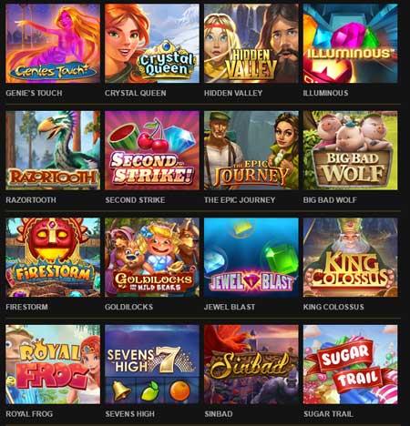 utvalg av casinospill på quickspinn